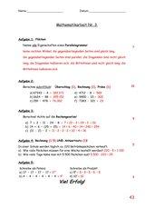 Mathematik Klassenarbeit 3 Klasse 5 BaWü