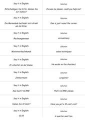 Spiel zur Wiederholung Verkaufsgespräche - Englisch