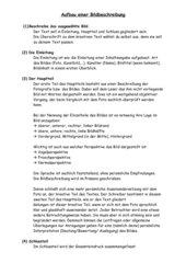 Klasse 10  - Aufbau einer Bildbeschreibung - Text und Concept Map für die Schüler