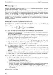 Monatsaufgabe als Klausurvorbereitung: Winkelberechnungen, Optimierung, Projektion, Ortskurve und Rotationskörperberechnung
