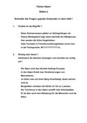 Stationenlernen Alpen Klasse 5/6 HS