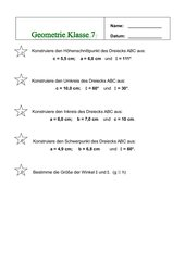 Klassenarbeit: Geometrie - 7. Klasse RS