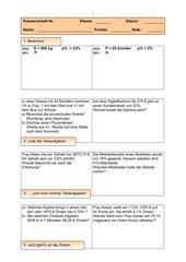 Prozent-/Zinsrechnung - Klassenarbeit 8. Klasse RS