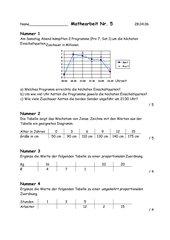 Mathearbeit 7. Klasse