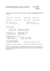 Prüfung Negative Zahlen mit Lösung 2