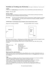 Herbarium - Merkblatt für Schüler