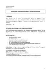 Thesenpapier: Einstiege im Geschichtsunterricht