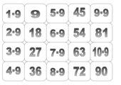 Einmaleins Memo-Spiel/Zuordnungsspiel: 3er,6er,7er und 9er