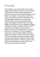 Diktat: Ritter Mittelalter 4. Klasse