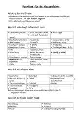 Packliste für Klassenfahrt in der Grundschule