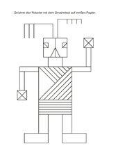 Roboter mit Geodreieck zeichnen--Parallel und senkrecht