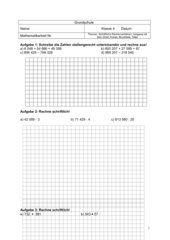 Mathematikarbeit: Grundrechenarten, Zirkel, Brüche  Klasse 4