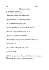 Subjekt und Prädikat Klasse 2