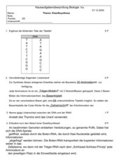 Hausaufgabenkontrolle zum Thema Eiweißsynthese