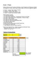 Excel - Abschlussübung