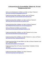 Linksammlung für Ausmalbilder, Rätsel, Kindergottesdienst und Material für den Religionsunterricht