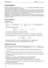 Monatsaufgabe als Klausurvorbereitung: Folgen, Reihen, vollständige Induktion und analytische Geometrie