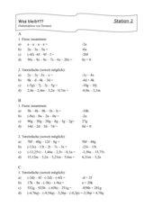 Terme mit Variablen --- Wiederholungs-, Übungszirkel