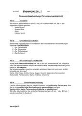 Klassenarbeit: Personenbeschreibung/ Personencharakteristik