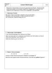 Lineare Gleichungen - Wiederholung