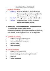 Bewertungsschema Inhaltsangabe