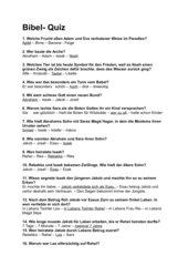 Übung und Test: Altes Testament (Adam bis Josef)