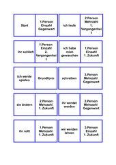 Domino über eine ganze Konjugation mit verschiedenen Verben