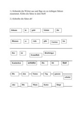 Schneidewörter - Sätze bilden