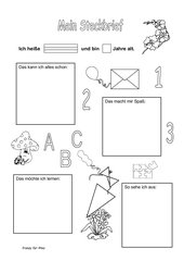 Steckbrief für Schulanfänger