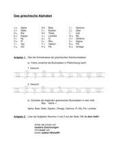Arbeitsblatt zum Üben des griechischen Alphabets