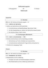 Stoffverteilungsplan für Mathe 3.Klasse