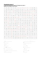 Gitterrätsel Ensemble 1, Vokabular Lektion 1 Lösung