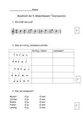 Musiktest für Bläserklasse 5 / 1. Halbjahr Tenorhorn