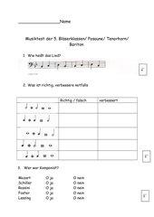 Musiktest für Bläserklasse 5 / 1. Halbjahr Posaune und Bariton