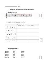Musiktest für Bläserklasse 5 / 1. Halbjahr Altsaxofon