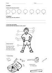 Klasse 3, Erster Test Englisch Farben, Zahlen, Körperteile