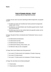 TISCHTENNIS-Multiple-Choice-Test