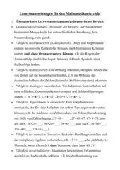Lernvoraussetzungen für den Mathematikunterricht in der Grundschule