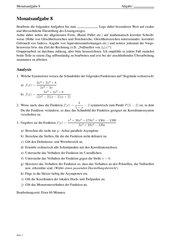 Monatsaufgabe als Klausurvorbereitung: Kurvendiskussion gebrochenrationaler Funktion sowie komplexe Pyramidenaufgabe