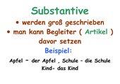 Substantive und Artikel