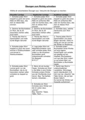 Übungen unterteilt nach Lerntyp