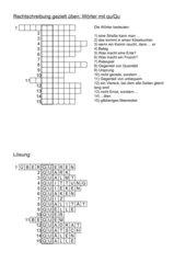 Kreuzworträtsel: 15 Wörter mit qu/Qu