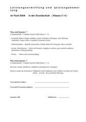 Leistungsermittlung und Leistungsbewertung im Fach Ethik (Grundschule Klasse 3/4 SACHSEN)