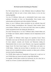 Text zur Eiszeit und Lückentext