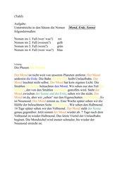 Die 4 Fälle des Nomens/ Die Phasen des Mondes