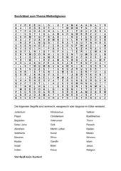 Buchstabengitter / Rätsel zum Thema Weltreligionen