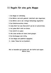 Regeln für die Mappenführung/Rückmeldung an die Schüler