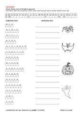 Halloween - Geheimschrift (englische Wörter)