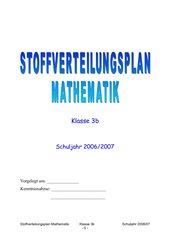 Stoffverteilungsplan Mathematik  3. Klasse GS Bayern