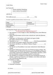 Elternbrief zum Wanndertag/Klassenfahrt